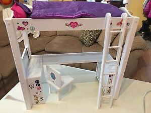 Journey Girls / American Girl / Maplelea doll bunk bed with desk