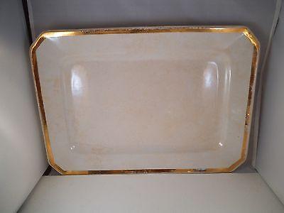Vintage J   E Mayer Warranted Stone China Rectangular Platter Gold Trim