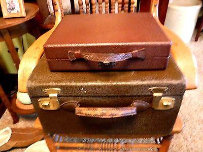 VINTAGE 1940's Beals & Selkirk Leatherette Hat Box Suitcase + Toiletries Case