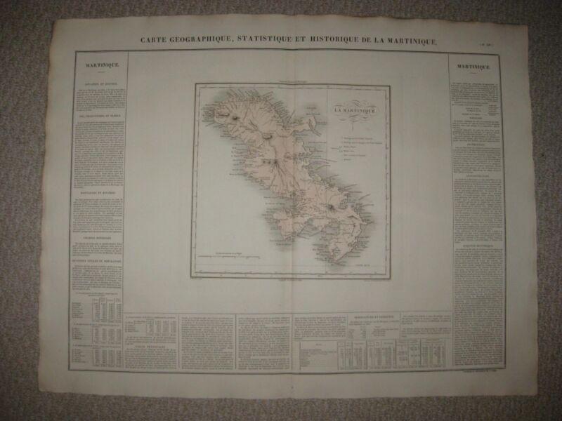 HUGE FOLIO ANTIQUE 1825 MARTINIQUE CARIBBEAN WEST INDIES CAREY & LEA HANDCLR MAP