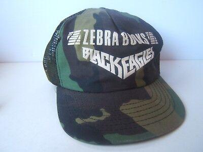 Zebra Book Black Eagles Hat Vintage Camo Snapback Trucker Cap Made USA for sale  Moncton