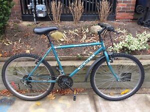 Old blue and white ccm mountain bike in great shape