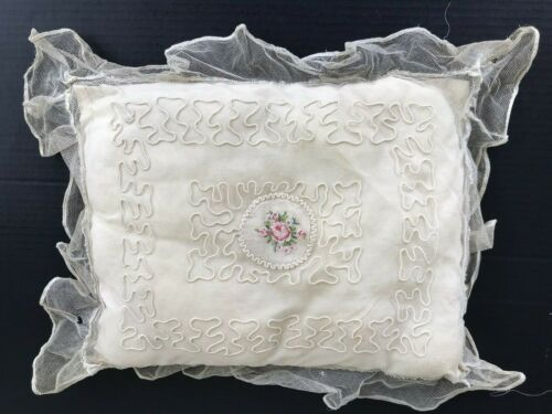Antique French Tambour Net Veil Hand Embroidery Roses Ruffles Boudoir Pillow 13""