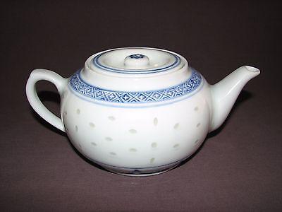 Vintage Chinese Porcelain Blue White Translucent Rice Grain Teapot 16 Ounce Size