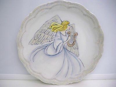 SCHIRNDING BAVARIA ANGEL PORCELAIN PLATE GERMANY #137 HANDPAINTED 9 1/2 ''