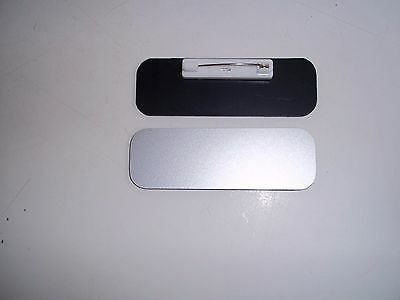 50 Blank 1 X 3 Silver Name Badges Tags With Rounded Corners Pin