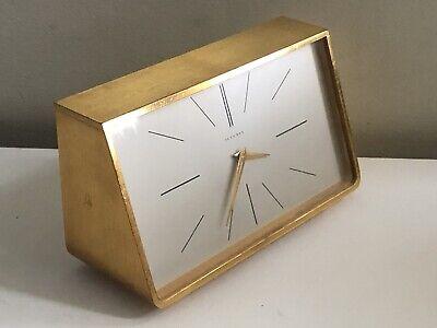 Juvenia Brass Case Desk Table Mantle Clock; Working Vintage Swiss Metal Doré
