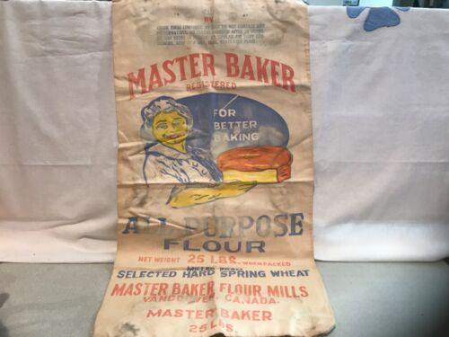 VINTAGE  FLOUR SACK BAG MASTER BAKER FLOUR MILLS
