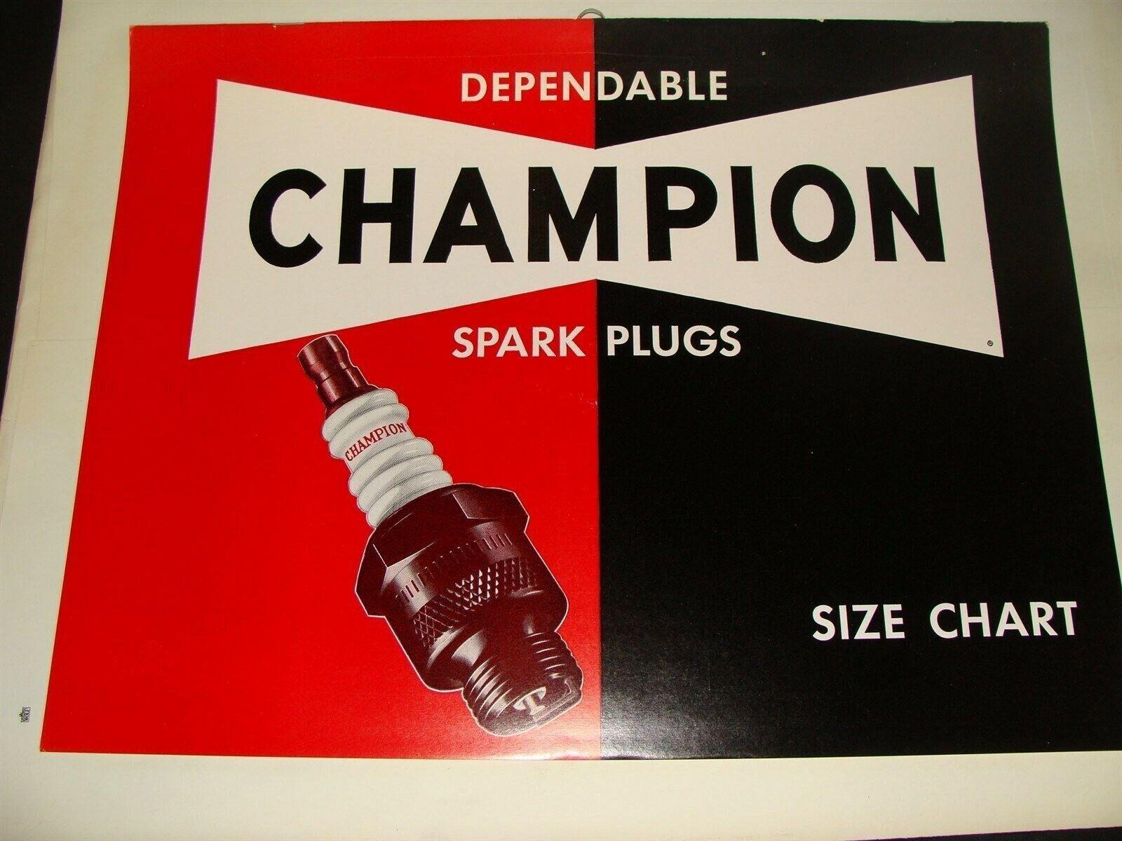 1957 Champion Spark Plugs Size Chart Sign Garage Catalog NOT Metal or Porcelain