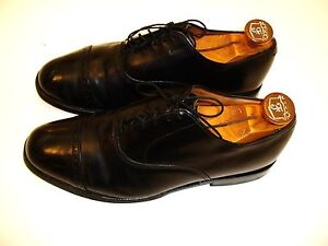 Vintage Allen Edmonds Byron 9E Black Cap Toe Oxford Dress Shoes