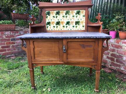 Delightful Antique Marble Topped Washstand