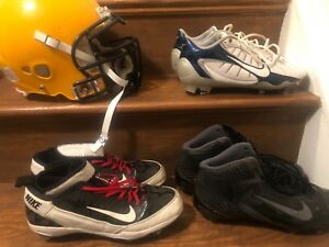 Used football cleats and helmet