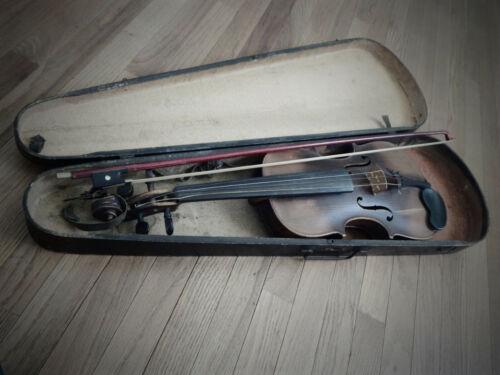 Antique Hopf German Violin with Old Violin Case Beautiful Tiger Back + Bow 1800s