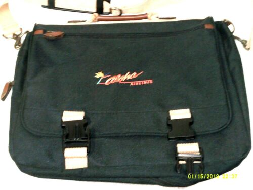 Aloha Airlines shoulder strap laptop bag black with logo rare