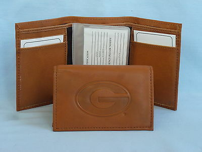 - GEORGIA BULLDOGS   Leather TriFold Wallet    NEW    brown 2