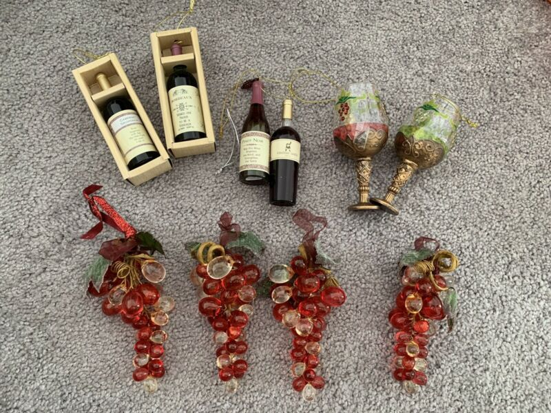 Set Of 10 Wine Grapes Christmas Collection Tree Ornaments Mini Bottles Macy's