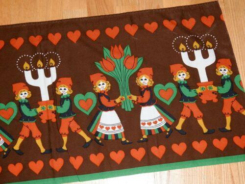 "Brown Vintage Christmas Swedish Table Runner 76x16"" Hearts Flowers Rydboholm"