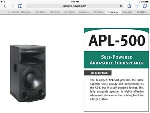 Apogee APL500 Powered speaker- pro audio for live concerts.