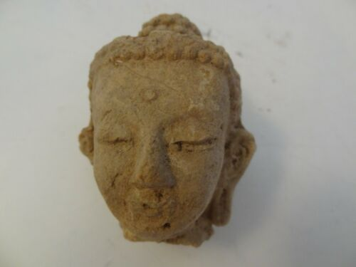 ANTIQUE MONGOLIAN BUDDHIST HAND MADE CLAY STATUE FRAGMENT BUDDHA HEAD #4