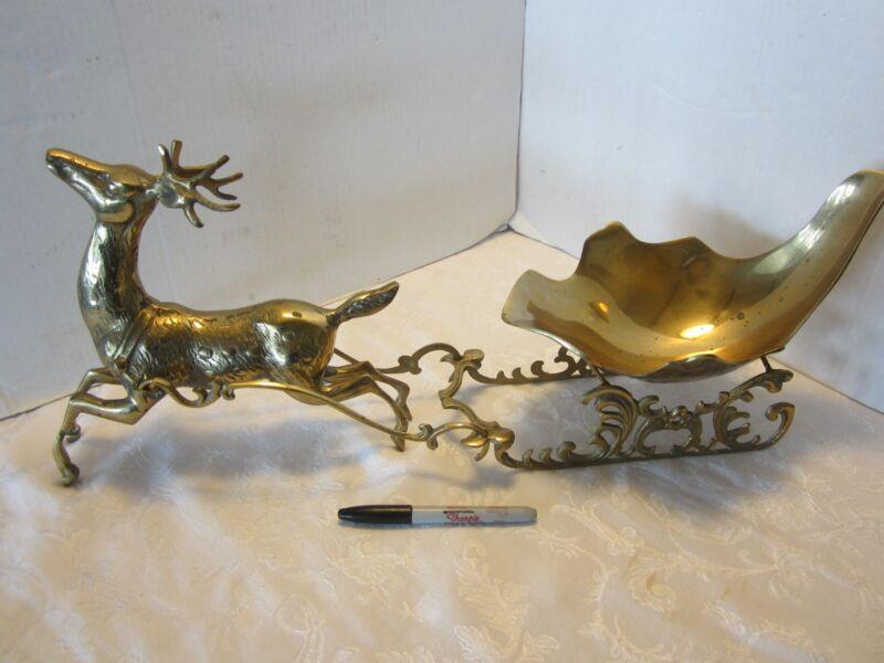 """Vintage SOLID BRASS REINDEER & SLEIGH Christmas 25"""" Korea Mid Century Korea"""