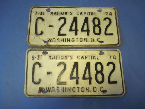 Matched pair of 1974 DC license plates