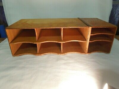 Large Vintage Wood Desk Organizer 9 Letter Mail Compartments 19 X 9 X 6