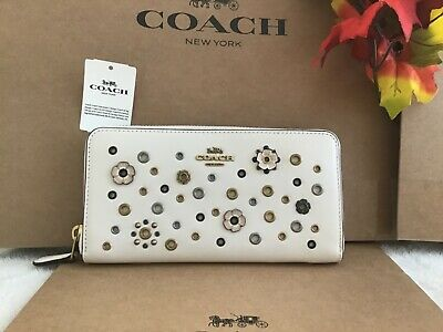 NWT COACH LEATHER FLORAL RIVETS ACCORDION ZIP WALLET 69830