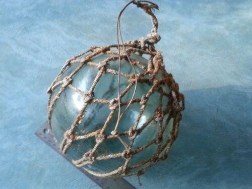 "Antique Japanese Large 8"" Glass Fishing Float Buoy Ball Roped Net"