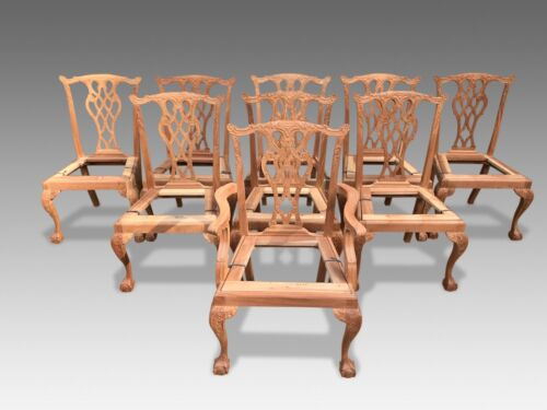 Sets of Chippendale style dining chairs to be pro French polished upholstered