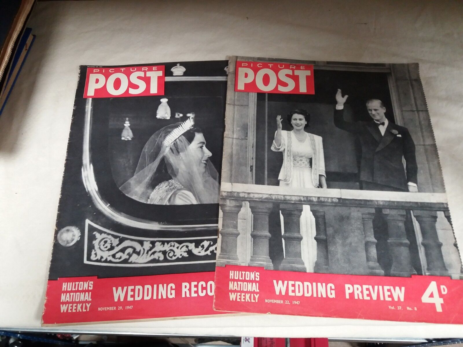 Picture post 1953 Royal Wedding Preview and Record magazines