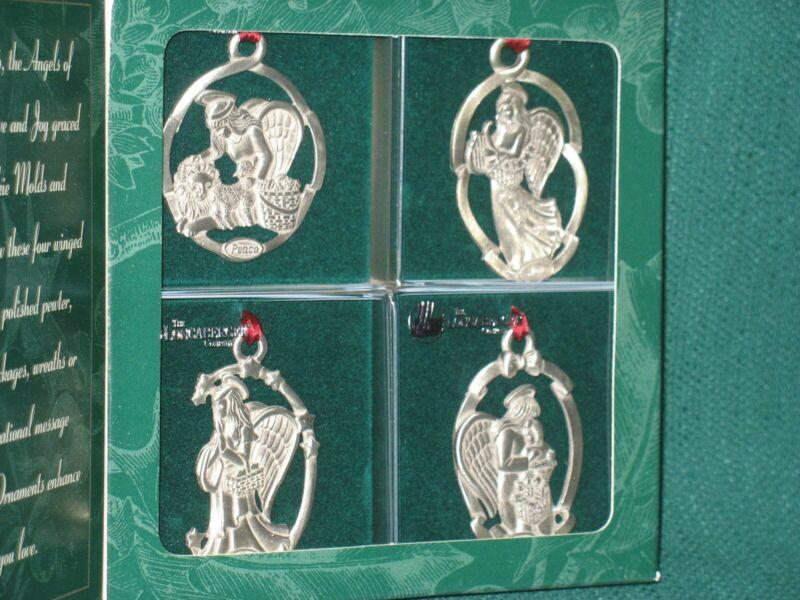 Longaberger Pewter Angel Ornaments - Love, Joy, Peace, Hope NIB
