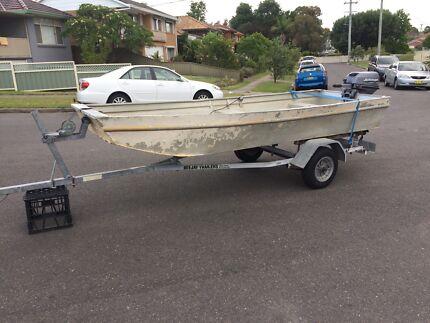 3.7m aluminium punt, 9.9hp Johnson, trailer.