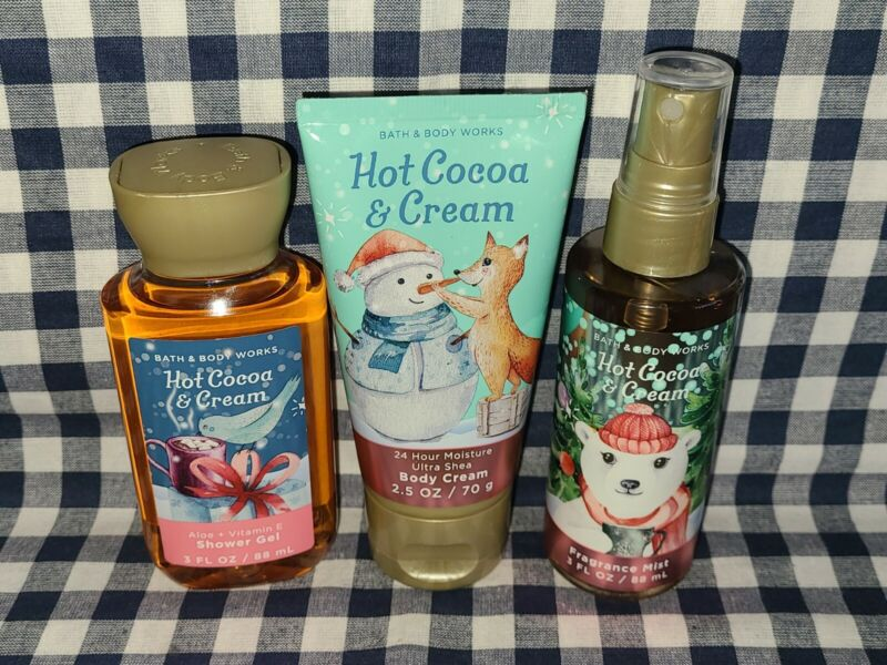 Hot Cocoa & Cream 3 Piece NEW *TRAVEL* Set Bath & Body Works SHIPS FREE!