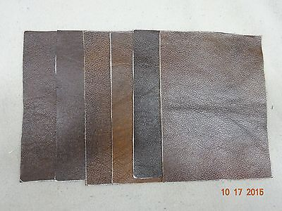 Scrap leather Genuine Cowhide  Brown Shades nice variety 6 pieces 8x6 inches New