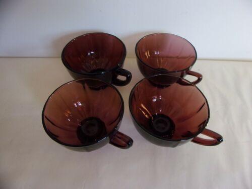 Set Of Four Vintage Purple Amethyst Tea Cups (Unmarked)