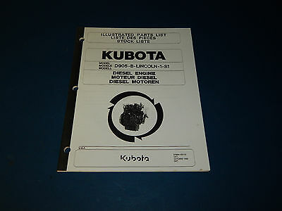 Kubota Model D905-b-lincoln-1-s1 Part List Catalog Diesel Engine D905blincoln1s1