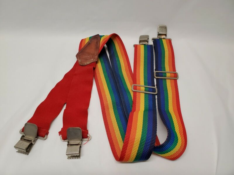 Vintage Atchison Leather Products Adjustable Stretch Rainbow Suspenders