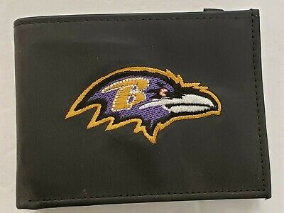 NFL Baltimore Ravens Bill Fold Leather Wallet, New (Embroidered Logo)