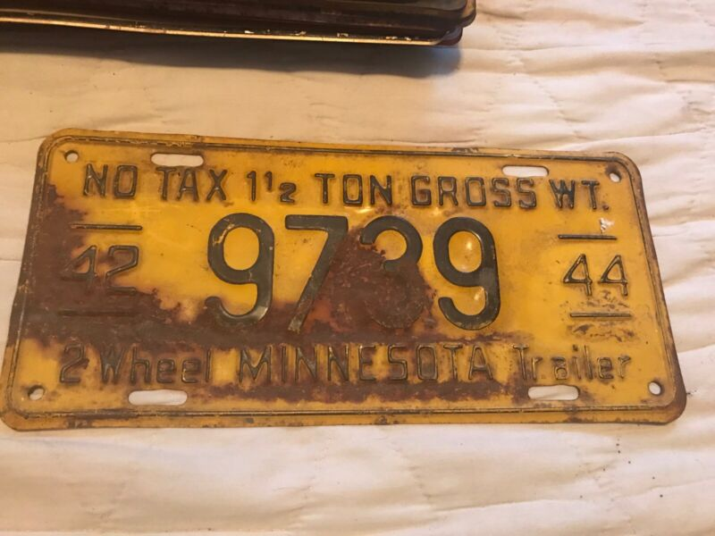 1942 Minnesota Trailer License Plate 9739