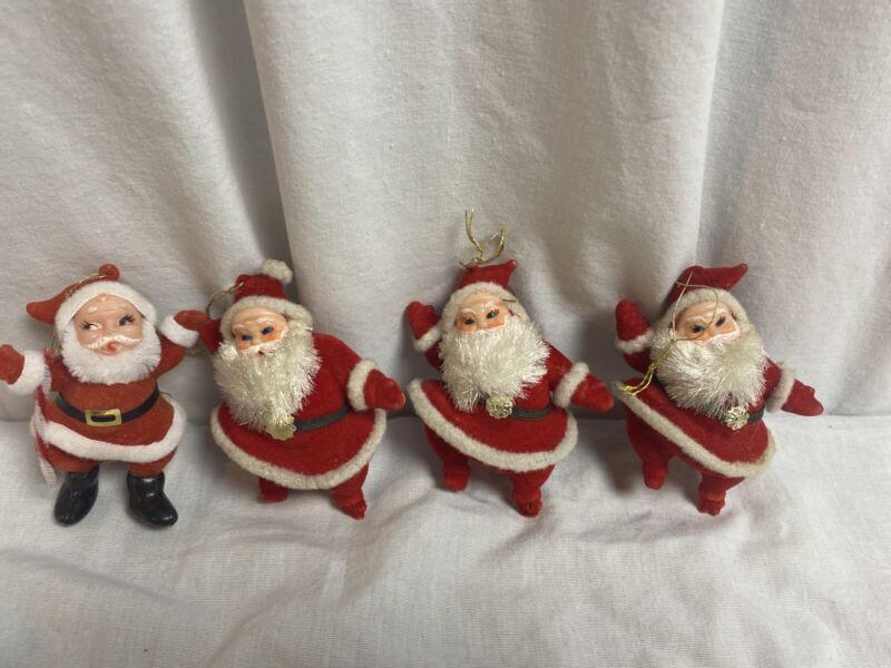 "Vintage Flocked Santa lot of 4 Ornaments 4"" Japan"
