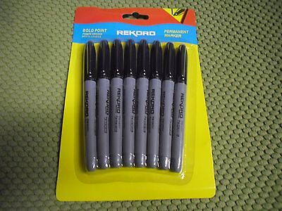 8pk New Black Permanent Marker Bold Point Use For School Home And Office