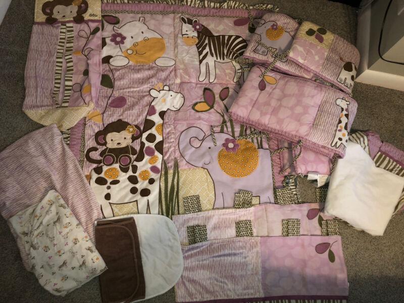 Cocalo JACANA JUNGLE Crib Bedding Set Quilt Diaper Sheet Nursery Girls Purple