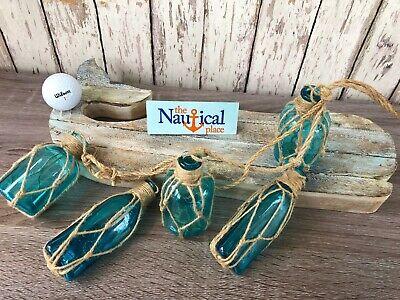 (5) Aqua Glass Bottles On Rope ~Nautical Fish Net Decor ~ Light Blue, Turquoise - Nautical Decorations