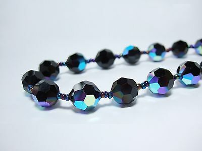 Vintage Crystal Necklace for Women Czech 14mm Black AB Glass Beads Jewelry 18""
