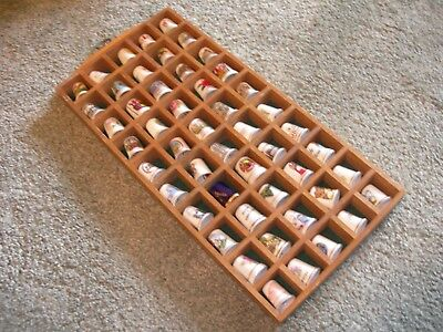 WOODEN THIMBLE WALL DISPLAY CABINET with 50 China Thimbles Baize Lined for sale  Shipping to South Africa