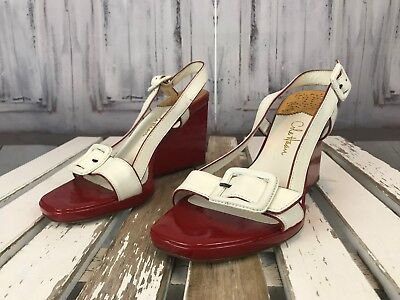 Cole Haan High Heel Red White Buckle Strap  Womens Ladys Summer Event Sz 6B