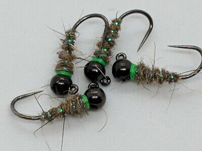 12   MIDGE  PUPA CREAM PREMIUM LIGAS FLY FISHING FLIES SIZE 18