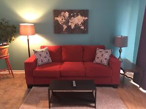 Full red couch