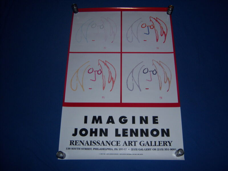 1990 vintage JOHN LENNON art exhibit poster-IMAGINE-beatle-PHILADELPHIA GALLERY