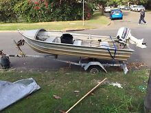 Aluminum tinny with 5HP motor and trailer Dee Why Manly Area Preview